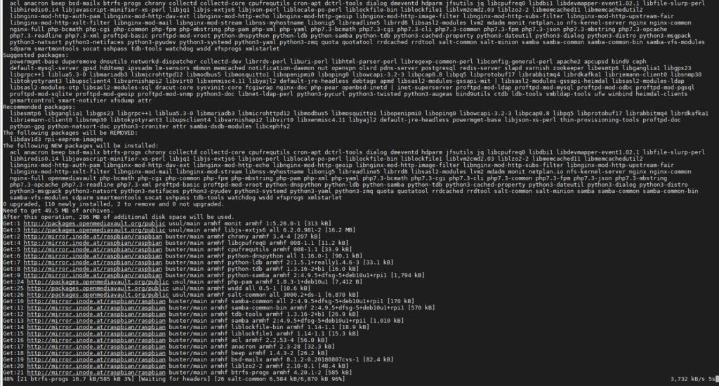 OpenMediaVault Installation Running