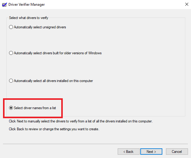 Driver Verifier Manager Select Drivers