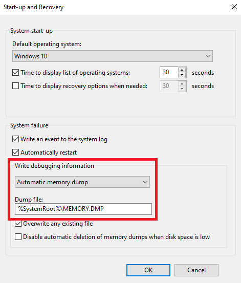 Windows10-WriteDebuggingInformation